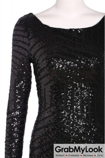 Sequined Black Party Long Sleeves Bodycon Dress