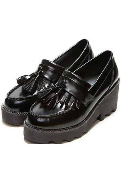 Black Red Patent Leather Tassels Platforms Women Oxfords Flats Shoes