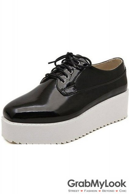 Black Glossy Shiny Leather White Platforms Sole Lace Up Women Oxfords Shoes
