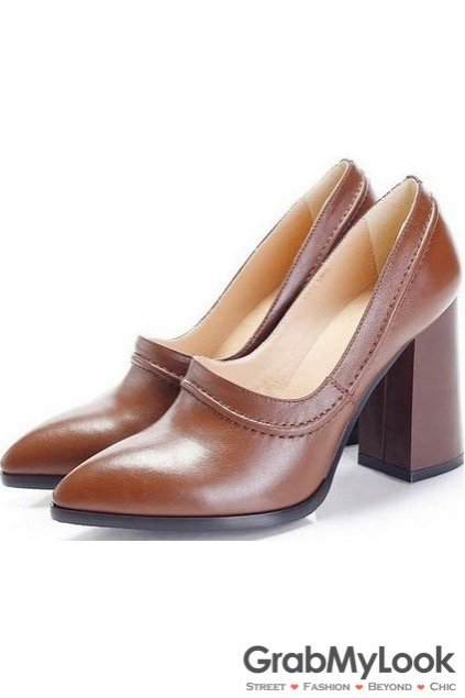 Black Brown Vintage Leather Point Head High Big Heels Women Oxfords Shoes