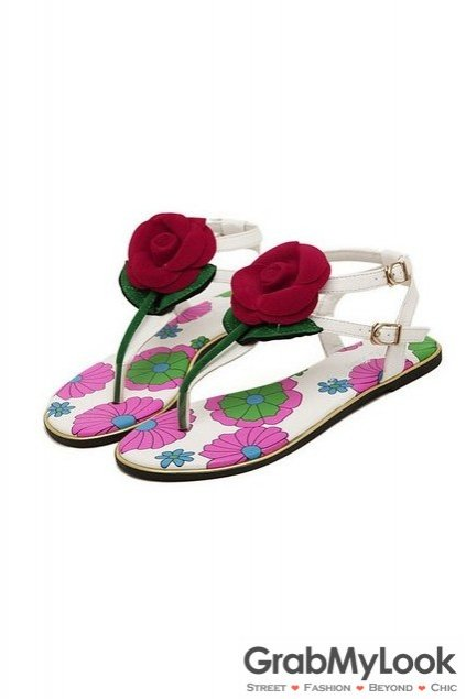 Giant Suede Red Rose Flowers White Flats Flip Flops Beach T Strap Summer Sandals