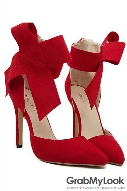 Suede Red Leather Giant Bow Ankle Stiletto High Heels Pump Women Shoes