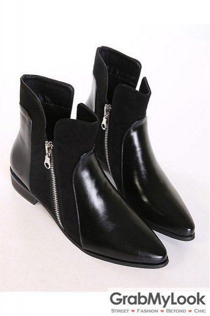 Black Leather Point Head Side Zipper Ankle Women Flats Boots Shoes