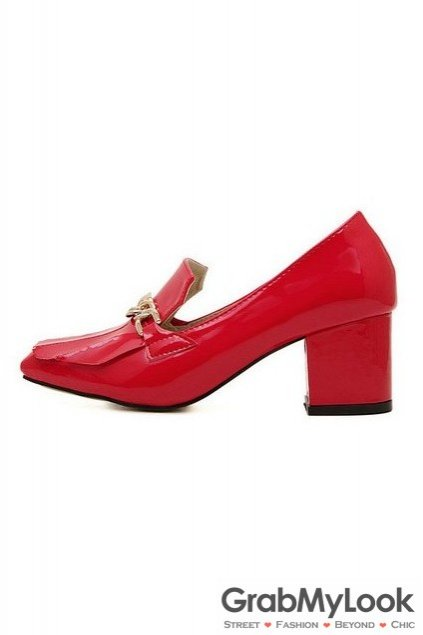 Red Patent Leather Metal Chain Blunt Head High Big Heels Women Shoes