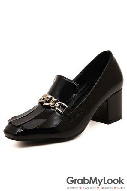 Black Patent Leather Metal Chain Blunt Head High Big Heels Women Shoes