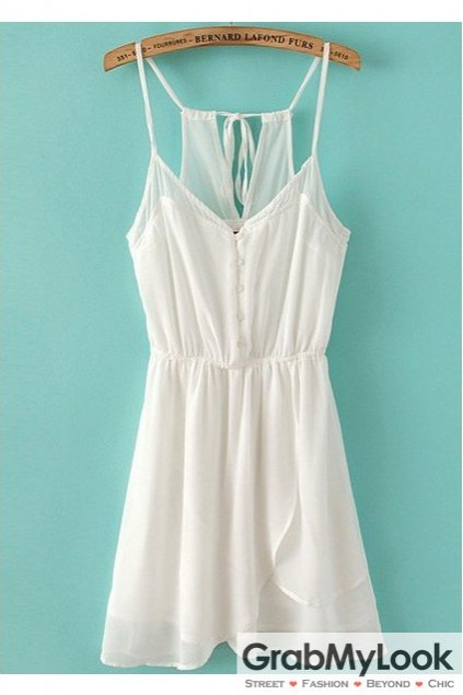 White Sleeveless Chiffon Dress Spaghetti Straps Skirt
