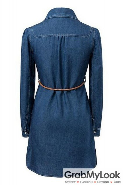 Blue Denim Long Sleeves Belt Embellished Dress