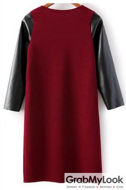Black PU Leather Long Sleeves Red Knit Bodycon Dress