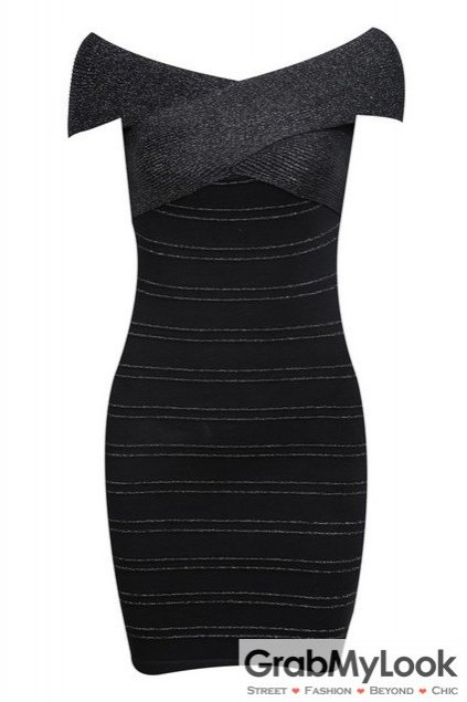 Black Bandage Pattern Off The Shoulder Skinny Bodycon Dress