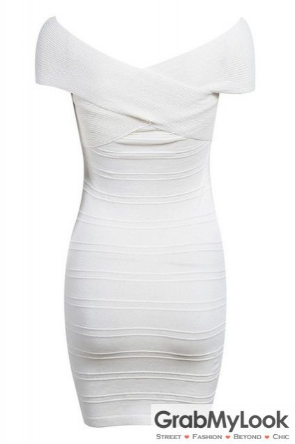 White Bandage Pattern Off The Shoulder Skinny Bodycon Dress