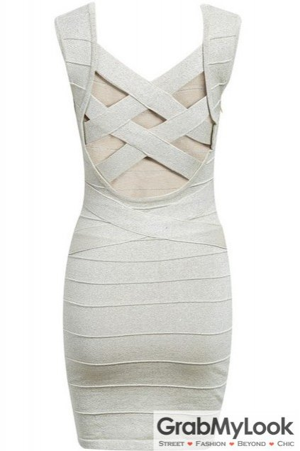 White Bandage Pattern Sleeveless Skinny Bodycon Dress