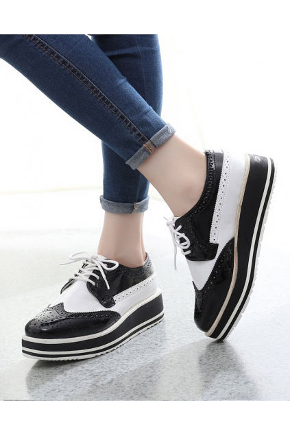 Patent Leather Lace Up Black White Platforms Sneakers Oxfords Women Shoes
