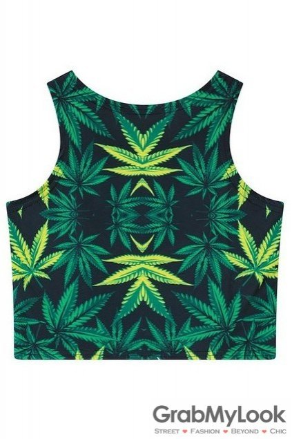 Green Hemp Leaves Leaf Cropped Sleeveless T Shirt Cami Tank Top