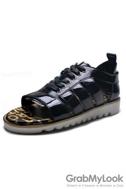 Patent Leather Mens Black Lace Up Sneakers Roman Gladiator Sandals Shoes