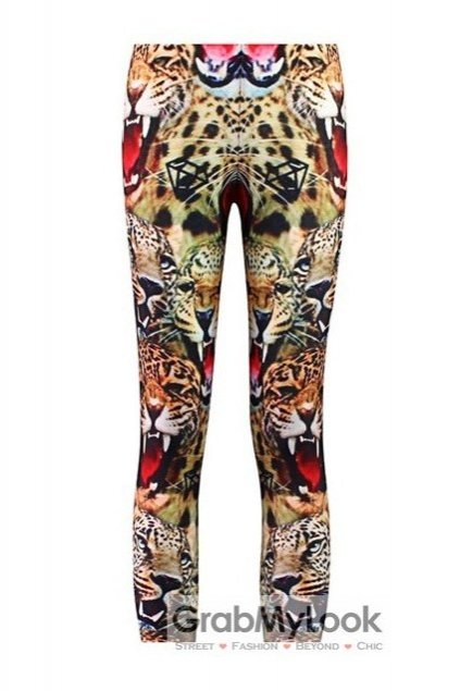 Fierce Tiger Face Mouth Skinny Long Yoga Pants Tights Leggings