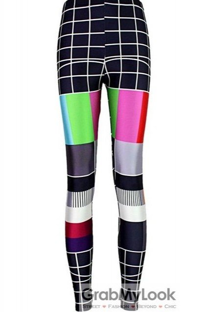 Black Vintage Colorful TV Board Skinny Long Yoga Pants Tights Leggings