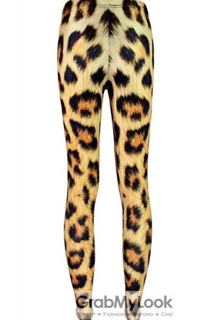 Yellow Tigar Leopard Cheetah Pattern Skinny Long Yoga Pants Tights Leggings