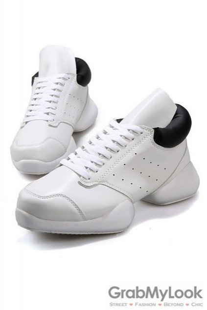 Lace Up High Top Mens Black White Chunky Sole Sneakers Running Walking Shoes