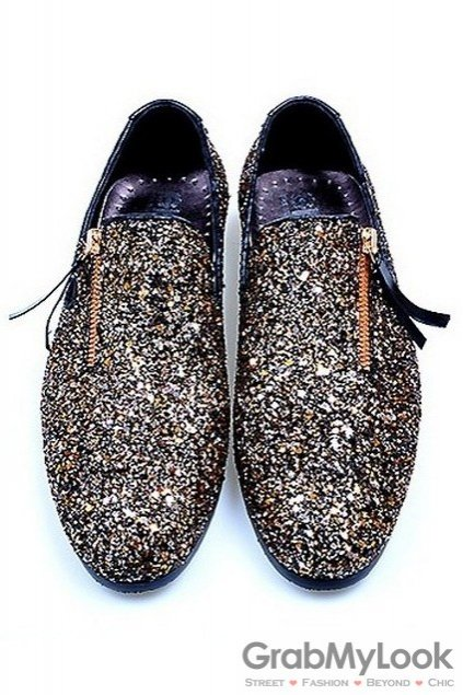 Gillter Sparkle Gold Black Mens Loafers Dress Shoes Flats