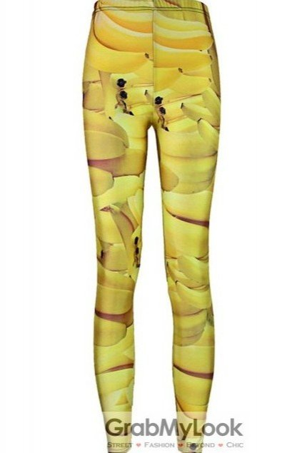 Yellow Banana Skinny Long Yoga Pants Tights Leggings