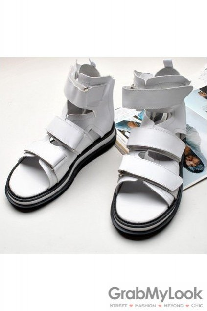 Leather Straps High Top White Thick Sole Mens Roman Gladiator Sneakers Sandals