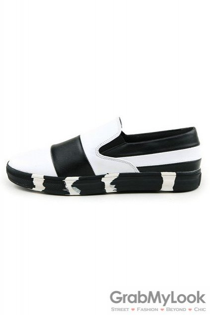 Black White Sole Mens Loafers Sneakers Shoes