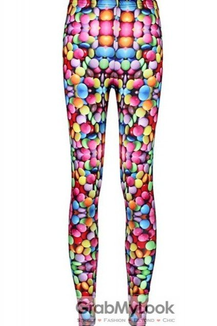 Rainbow Colorful Smarties Skinny Long Yoga Pants Tights Leggings