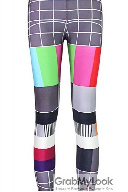 Grey Vintage Colorful TV Board Skinny Long Yoga Pants Tights Leggings