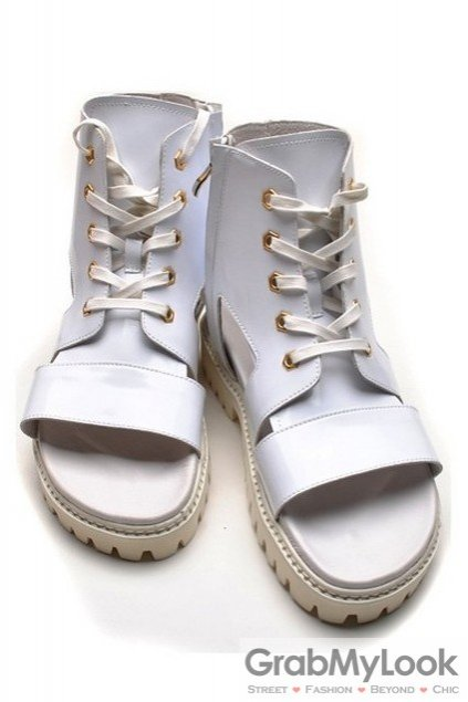 Patent Leather White Boots Ankle Mens Sneakers Roman Gladiator Sandals Shoes