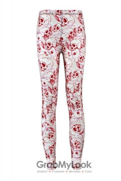 White Bloody Skulls Pattern Skinny Long Yoga Pants Tights Leggings