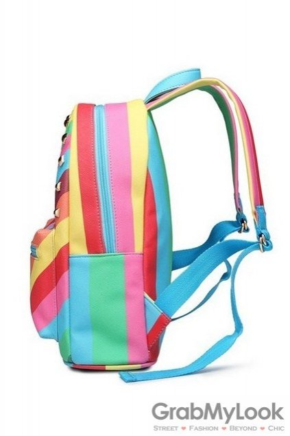 Rainbow Colorful Stripes Metal Studs Fancy Backpack