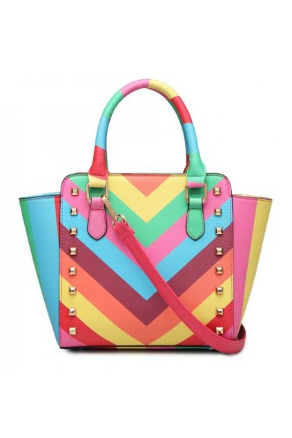 Rainbow Colorful Stripes Metal Studs Handbag Doctor Boston Bag