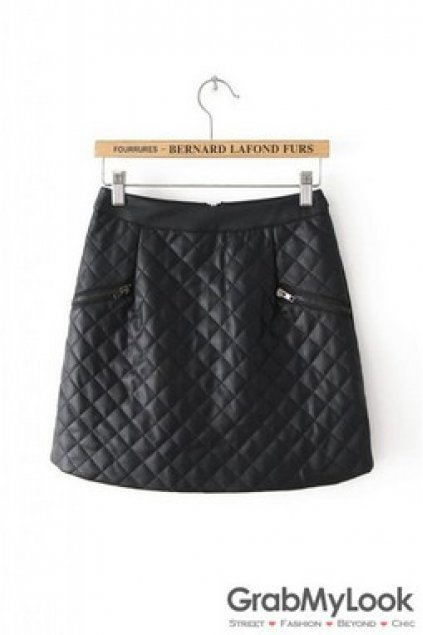 6bb907ccc2 Apparel :: Skirt :: Black White Leather Quilted A Line Sexy Mini Skirt