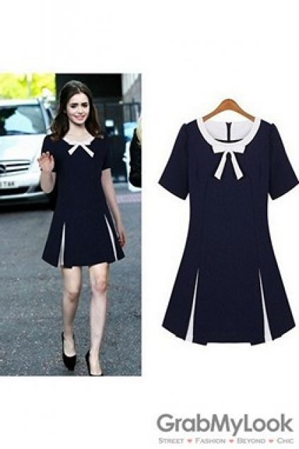Apparel Dress Short Sleeves Navy Blue White Trim Skater