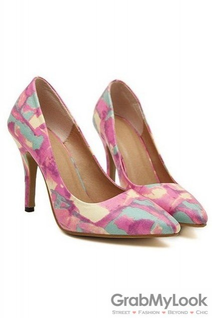 Pastel Abstract Painting Pink Point Head Sexy High Heels Stiletto Shoes