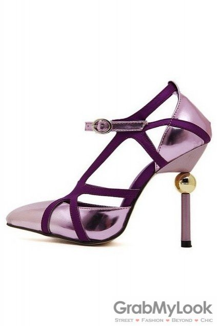 Suede Patent Thin Straps Purple Point Head Sexy Gold Ball High Heels Stiletto Shoes