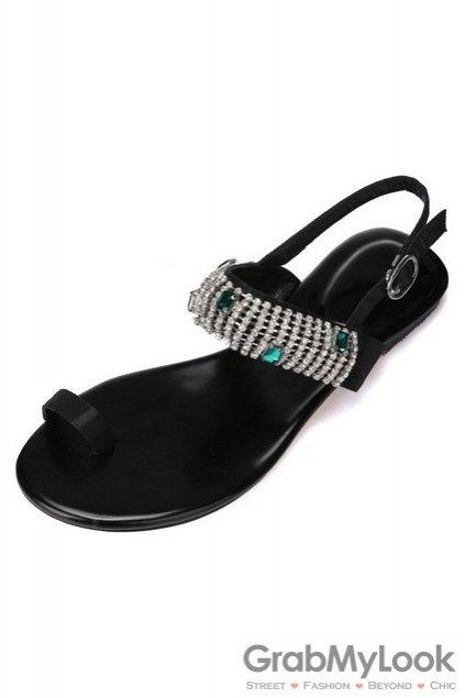 Black Green Diamante Embellished Satin Thumb Glamourous Flats Sandals Shoes