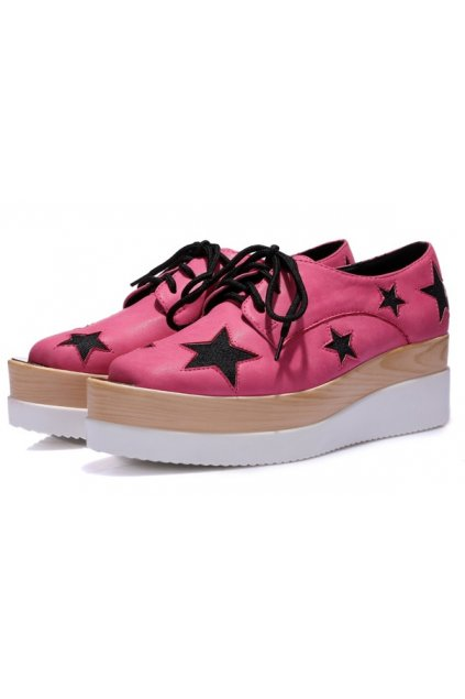 Patent Stars Metal Plate Blunt Head Pink Lace-Up Platforms Wedges Oxfords Creepers Shoes