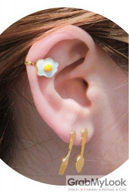 Sunny Side Up Egg Fork Spoon Cultery Earrings Ear Bone Clips Pin
