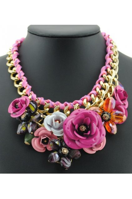 Tribal Exotic Pink Rose Flower Chain Up Bohemia Vintage Gold Punk Rock Necklace