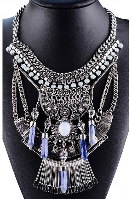 Tribal Exotic Chain Crystal Bohemia Vintage Silver Diamante Punk Rock Necklace