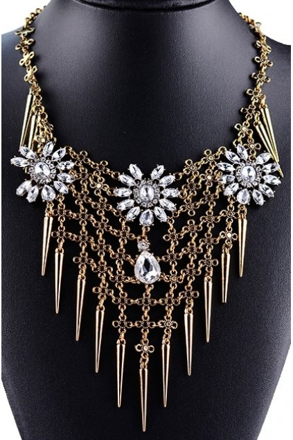 Tribal Exotic Long Spikes Flower Bohemia Vintage Gold Diamante Punk Rock Necklace