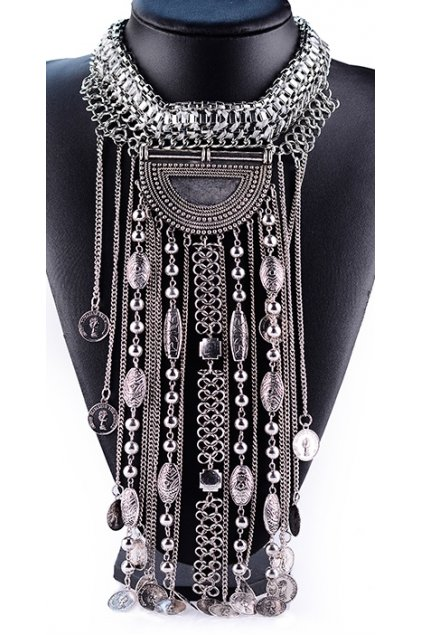 Tribal Exotic Bohemia Vintage Silver Diamante Long Tassels Beaded Metal Punk Rock Necklace