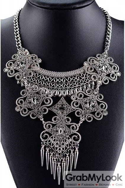 Tribal Exotic Spikes Zigzag Bohemia Vintage Silver Diamante Punk Rock Necklace