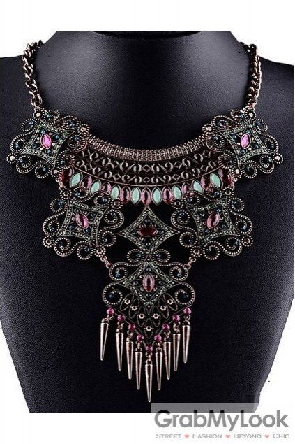 Tribal Exotic Green Red Stones Spikes Bohemia Vintage Gold Diamante Punk Rock Necklace