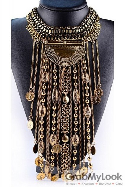 Tribal Exotic Bohemia Vintage Gold Diamante Long Tassels Beaded Metal Punk Rock Necklace