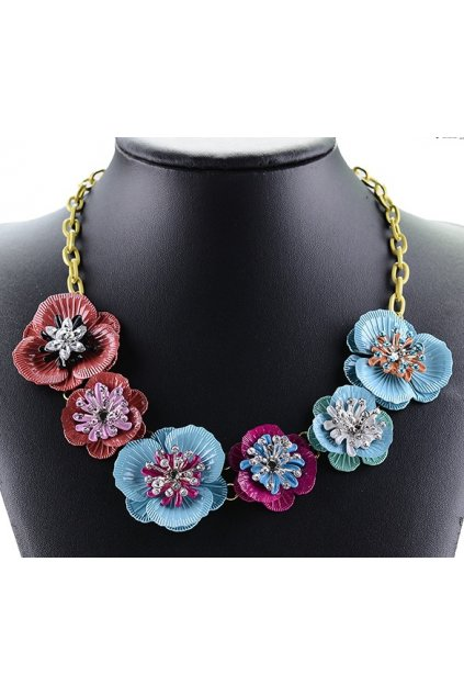 Tribal Exotic Giant Blue Red Flower Diamante Bohemia Vintage Gold Chain Punk Rock Necklace