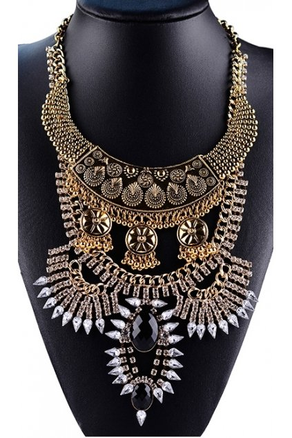 Tribal Exotic Bohemia Vintage Gold Diamante Beaded Metal Punk Rock Necklace Black Stone