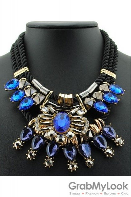 Big Blue Gems Bohemia Vintage Chain Punk Rock Necklace Exotic