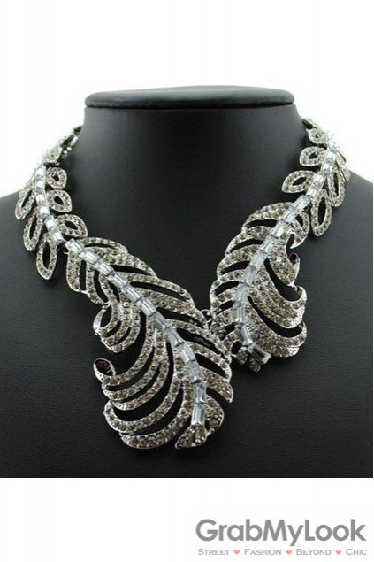 Silver Diamante Leaves Pattern Bohemia Vintage Punk Rock Necklace Exotic